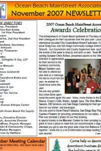 Ocean Beach MainStreet Association November 2007 Newsletter