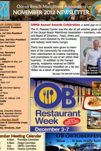 Ocean Beach MainStreet Association November 2012 Newsletter