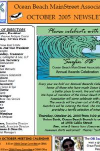 Ocean Beach MainStreet Association October 2005 Newsletter