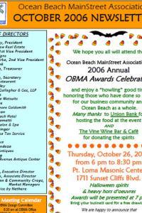 Ocean Beach MainStreet Association October 2006 Newsletter