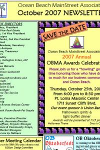 Ocean Beach MainStreet Association October 2007 Newsletter
