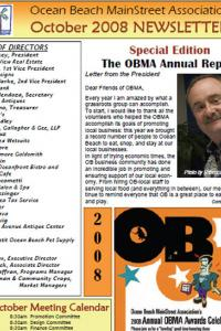 Ocean Beach MainStreet Association October 2008 Newsletter