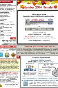 Ocean Beach MainStreet Association September 2014 Newsletter