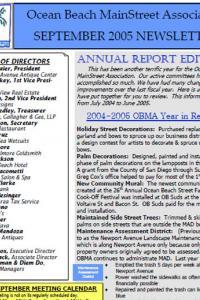 Ocean Beach MainStreet Association September 2005 Newsletter