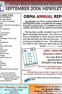 Ocean Beach MainStreet Association September 2006 Newsletter