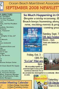 Ocean Beach MainStreet Association September 2008 Newsletter