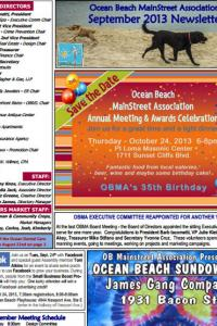 Ocean Beach MainStreet Association September 2013 Newsletter