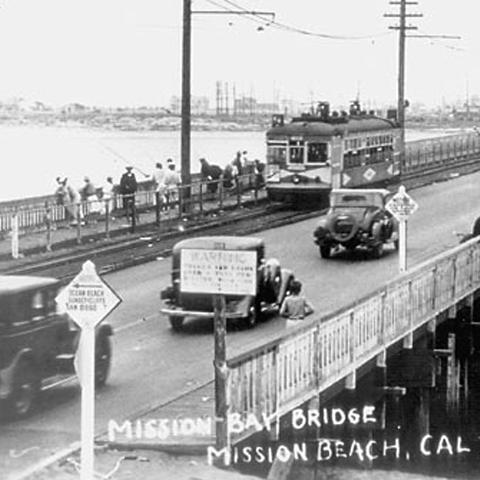 Mission Bay Bridge - photo courtesy of Ocean Beach Historical Society