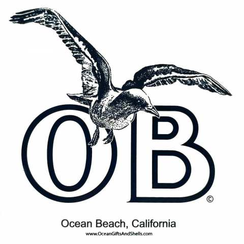 "Ocean Beach Product: OB Seagull Sticker 6"""